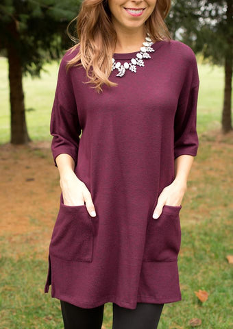 cs gems burgundy kimono sleeved tunic top with pockets and buttons down the back