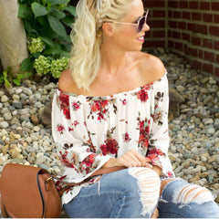 cs gems floral off the shoulder ruffle bell sleeve top
