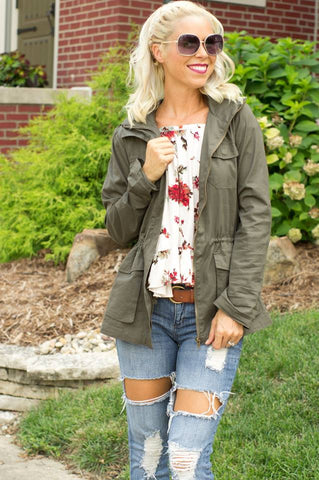 cs gems military jacket army, floral off the shoulder top, ripped jeans