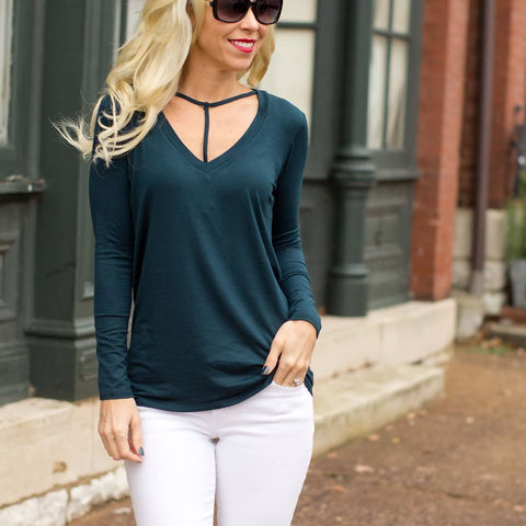 cs gems hunter green scoop neck top