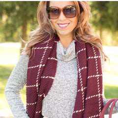 cs gems blanket scarf burgundy