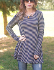 cs gems striped tunic knit top