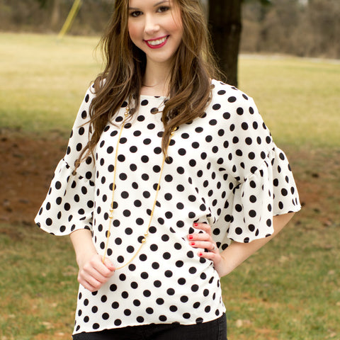 ivory bell sleeve blouse polka dot cs gems