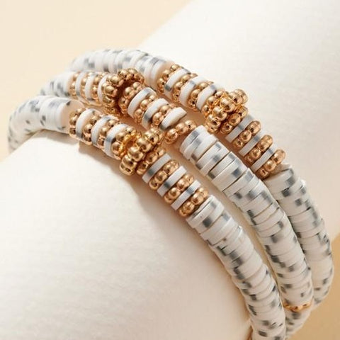 White Multicolored Set of Stretch Bracelets with Rubber and Metal Cut