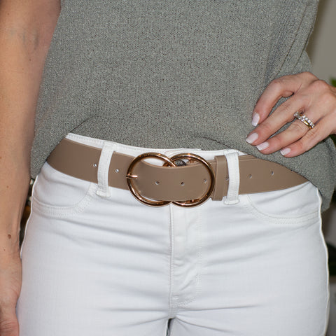 Taupe Faux Leather Gold Double Ring Belt