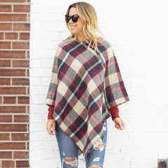 Ivory Tartan Plaid Knitted Poncho - www.shopcsgems.com