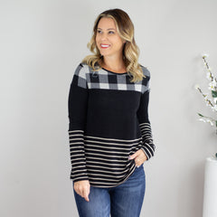 Taupe and Black Checkered and Stripe Top - www.shopcsgems.com