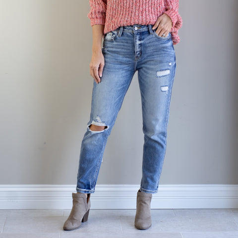 Kan Can High Rise Light Wash Distressed Mom Jean