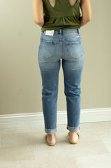Kan Can Button Fly High Rise Cropped Mom Jeans
