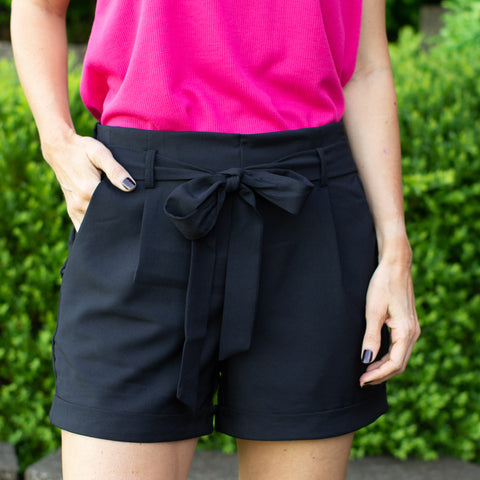 Black Tie Belt Shorts with Pockets
