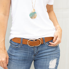 Faux Leather Double Ring Brown Belt