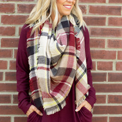 Camel and Burgundy Blanket Scarf