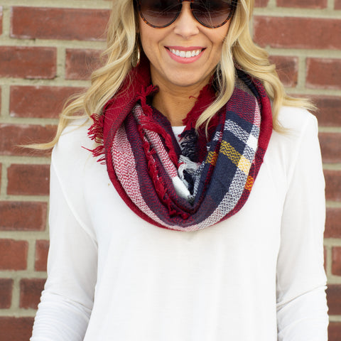 Red Woven Plaid Infinity Scarf