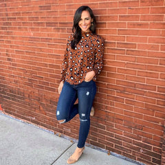 Leopard Ruffle Neck and Sleeve Blouse