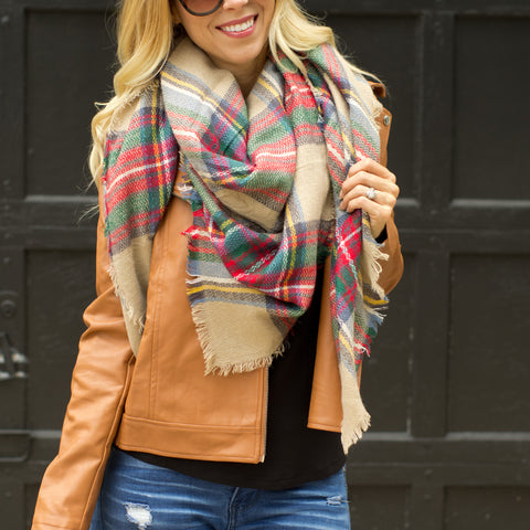 Beige and Red Scarf
