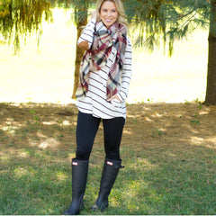 Plaid blanket scarf with stripes - www.shopcsgems.com