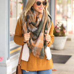 Olive and Rust Plaid Blanket Scarf