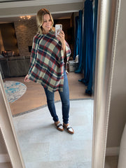 Ivory Tartan Plaid Knitted Poncho
