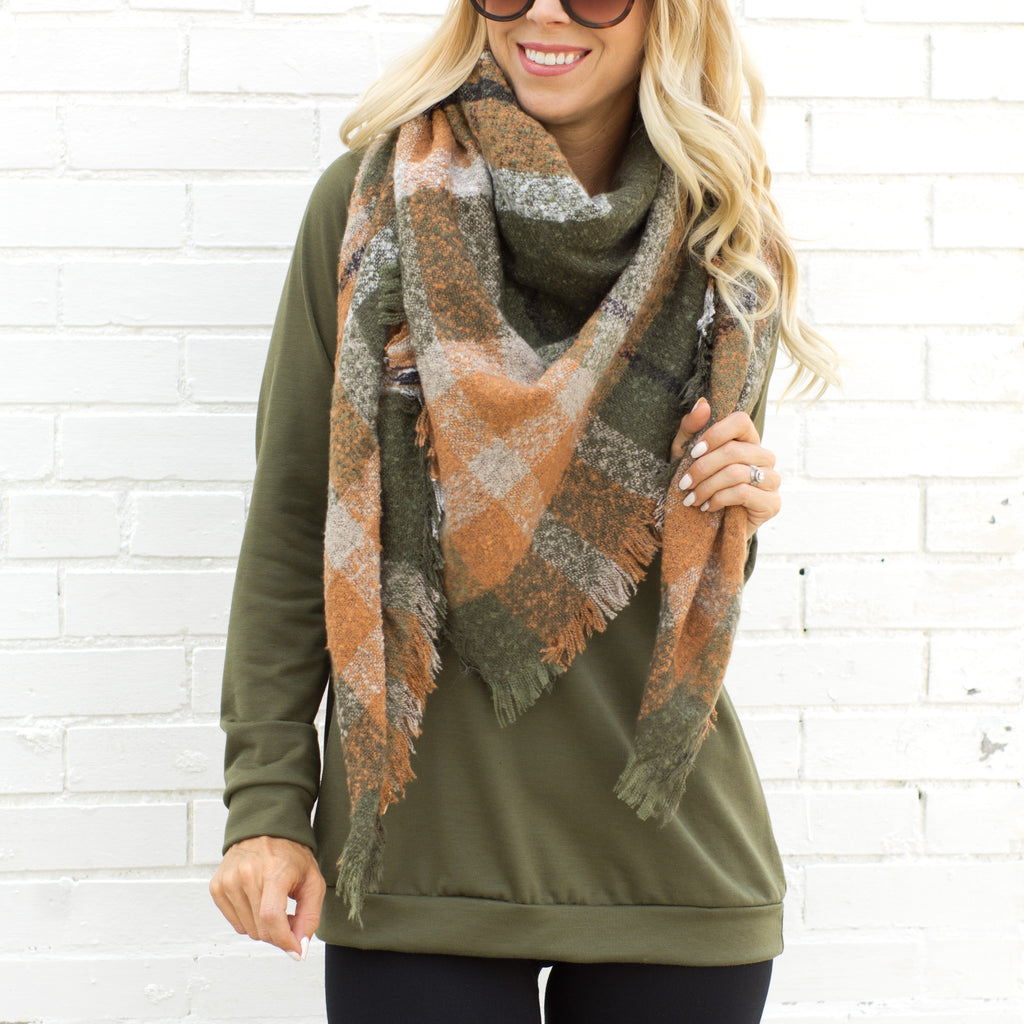 olive and rust plaid blanket scarf - www.shopcsgems.com