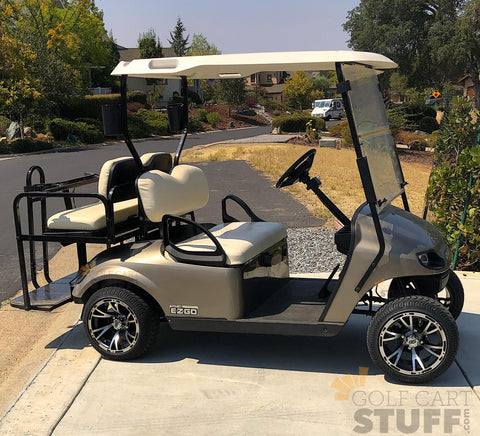 12 inch Ranger Black and Machined Golf Cart Wheels with 215/35-12 DOT Low Profile tires! Get your wheels and tires from GOLFCARTSTUFF.com today to enjoy fast and free shipping!