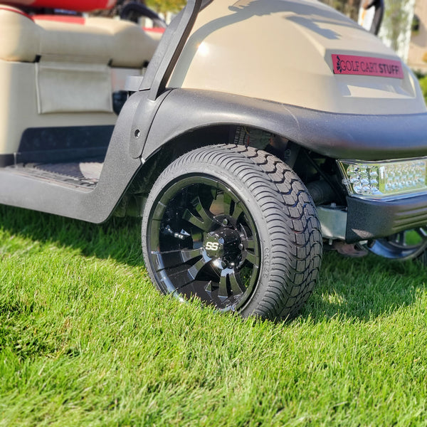 Gotham or Vampire gloss black 12 inch wheel and tire combo mounted on Club Car Precedent.