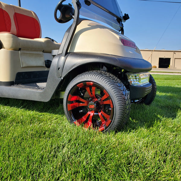 Low profile Gotham or Vampire red wheel and tire golf cart combo for Club Car Precedent.