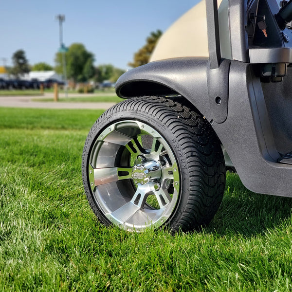 Stallion gunmetal wheel and low profile tire combo for golf cart installed on Club Car.