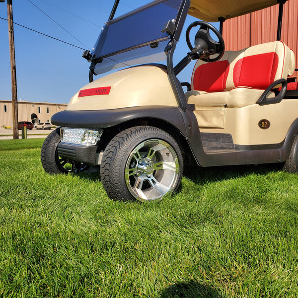 """Set of 12"""" Stallion gunmetal wheel and low profile tire combo for golf cart installed on Club Car."""