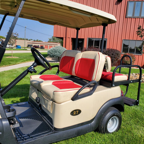 Paramount custom golf cart front seat assembly for Club Car golf cart.