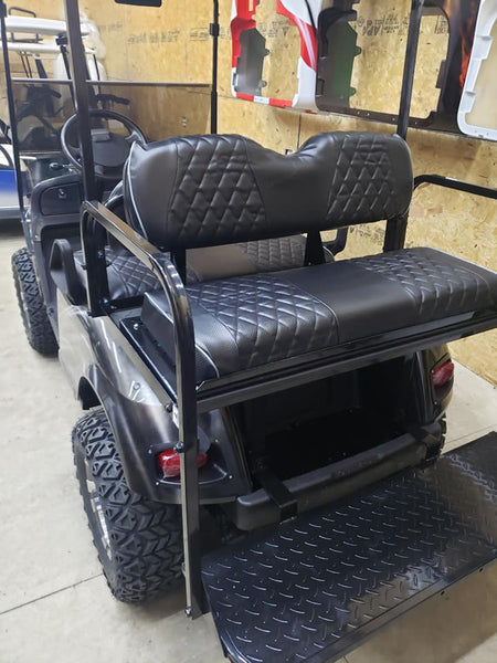 Replacement LED tail light set installed on an EZGO TXT model golf cart.