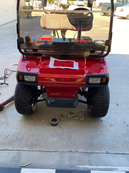 Customer installed headlights on a Club Car DS Basic LED light kit.