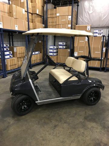 "Lama 12"" wheels and lo profile tires installed on Club Car DS golf cart."