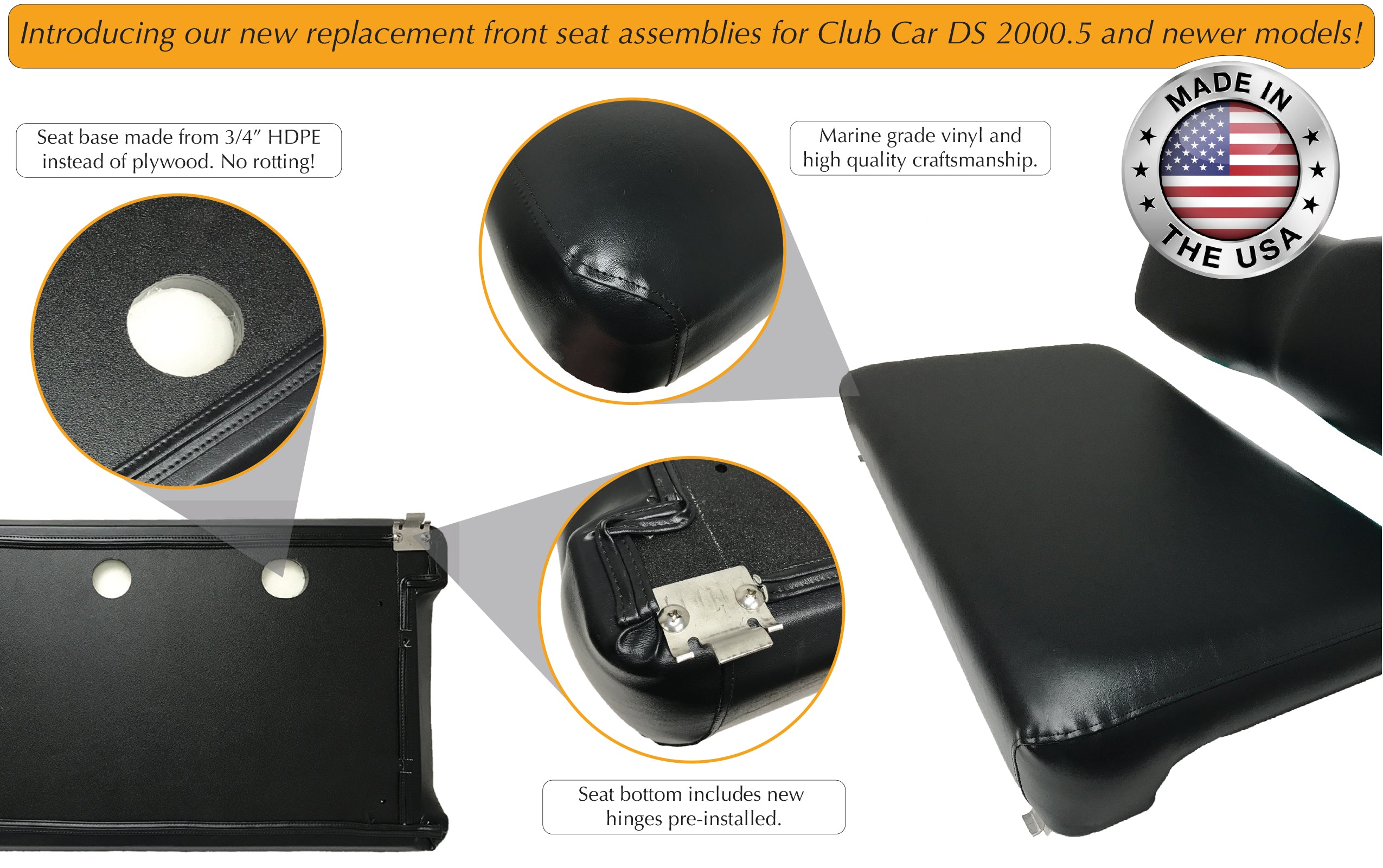 Description for golf cart front seat assembly replacements.