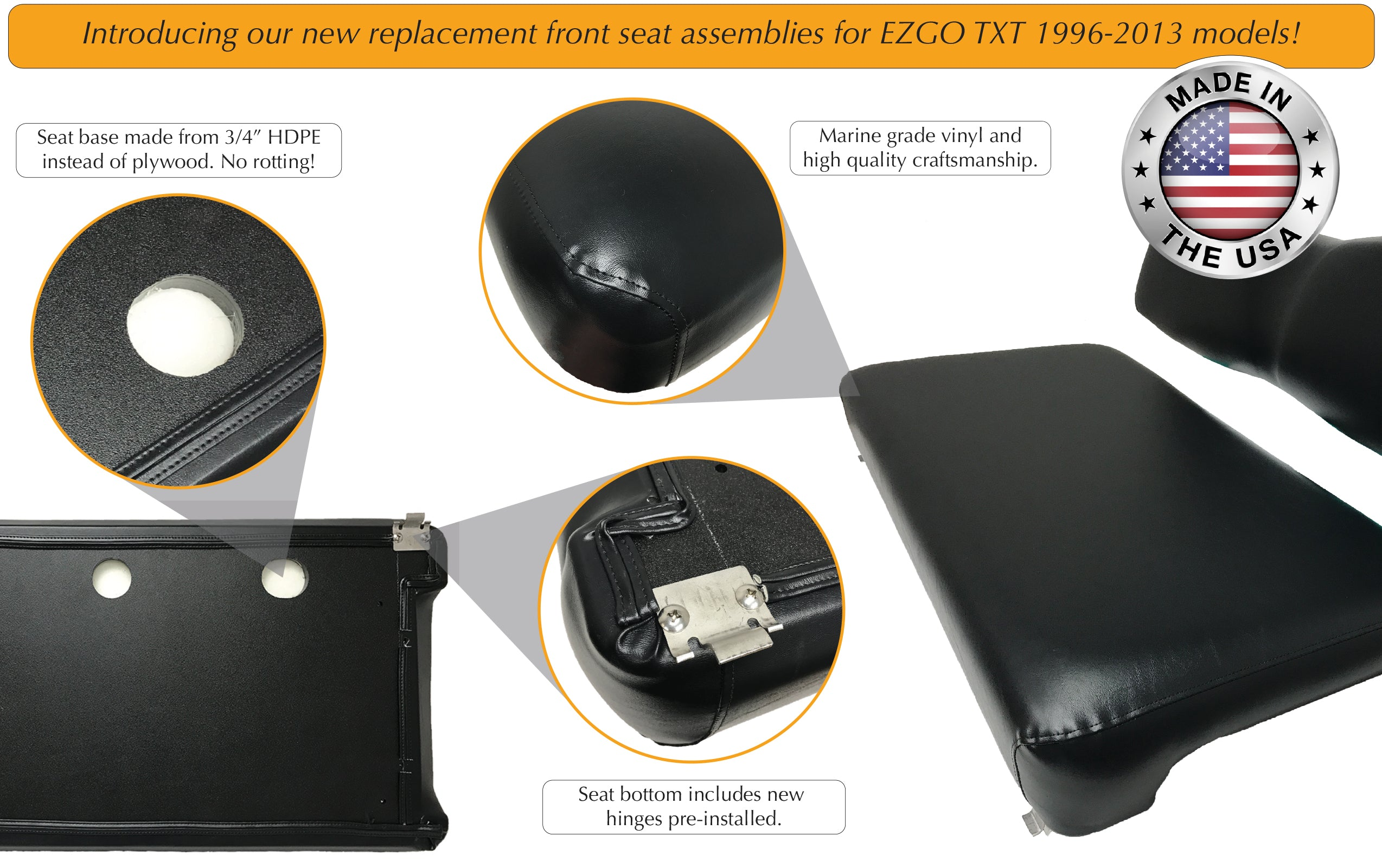 Features of EZGO TXT golf cart replacement front seat assembly with no wood, no rot base.