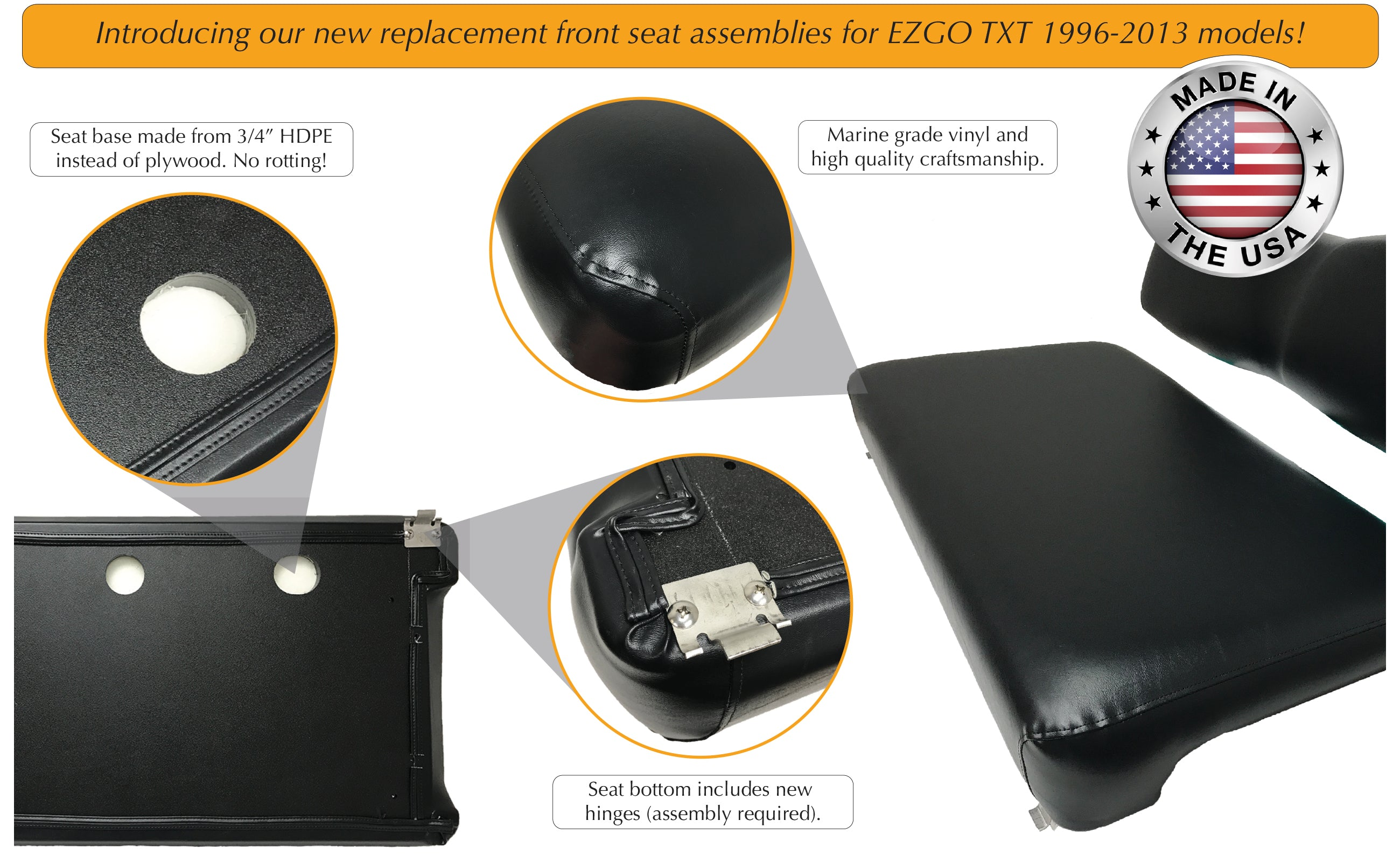 Features of front replacement seat assembly with no wood for EZGO TXT model golf cart.