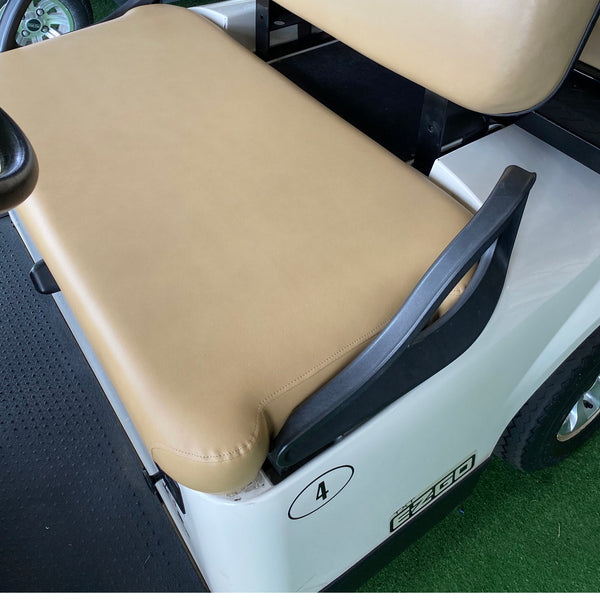 EZGO TXT front seat replacement assembly in tan installed on customer's cart.
