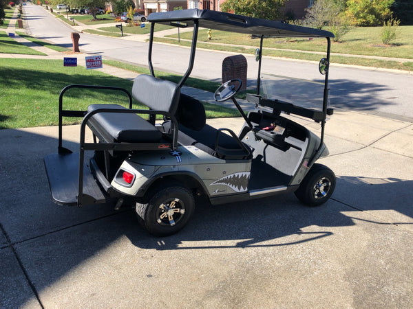 Customer install photo for Gusto rear flip seat on EZGO TXT golf cart.