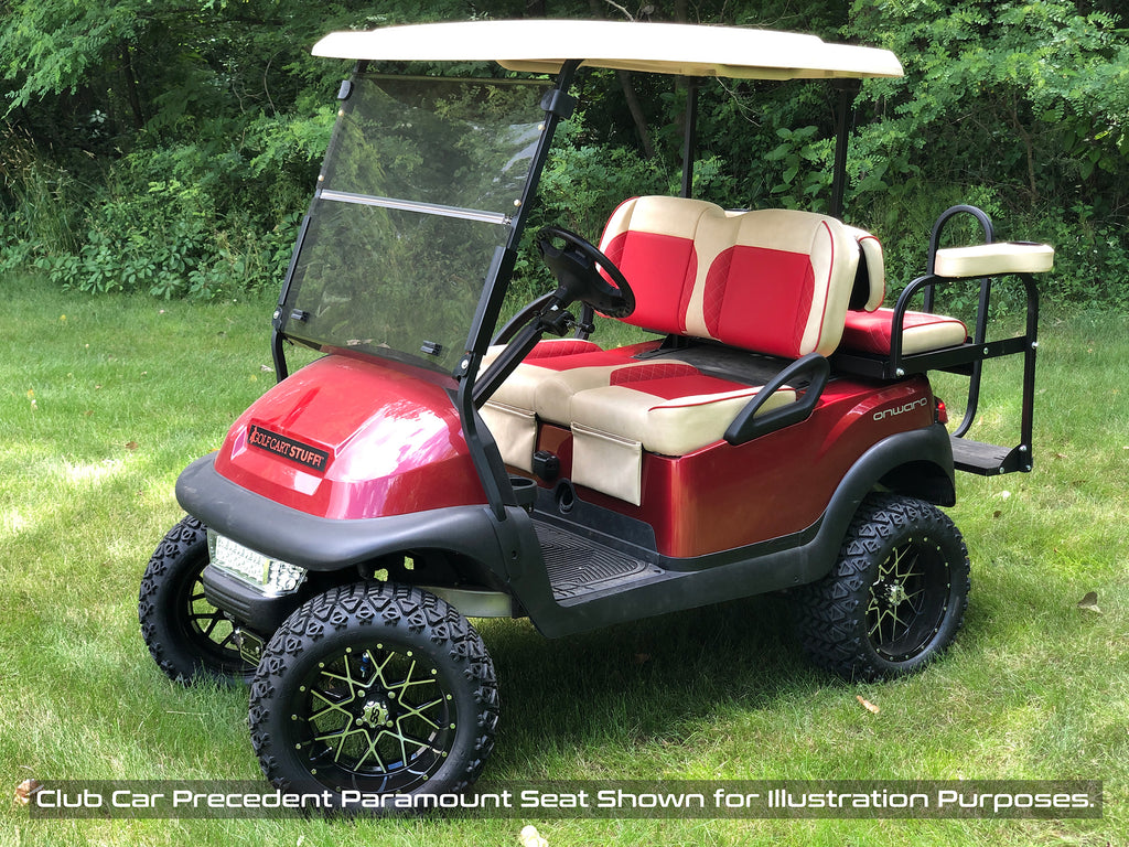 Custom Paramount golf cart complete front seat assembly installed on Club Car golf cart.