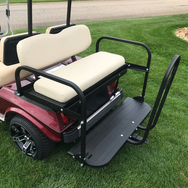 Rear stainless steel bumper installed on Club Car DS model golf cart.