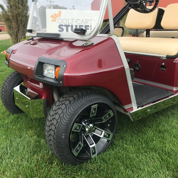 """Rebel 12"""" low profile wheel and tire combo mounted on Club Car DS golf cart with no lift kit."""