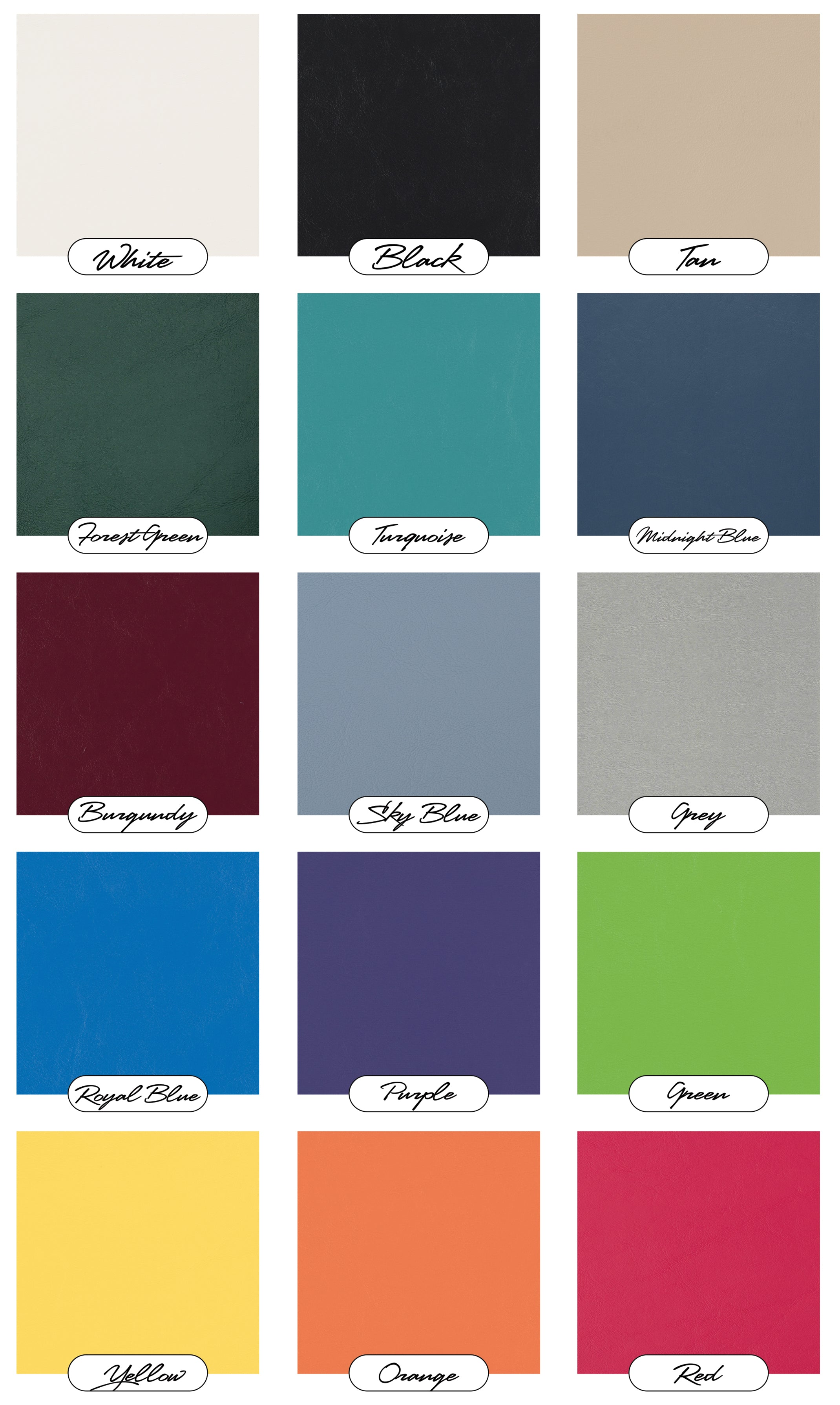 Color swatches for Paramount custom front golf cart replacement seat assemblies.