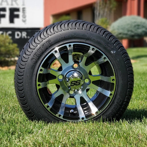 "10"" Low profile turf tire and flame style rim combo set for golf cart in black and machined aluminum."