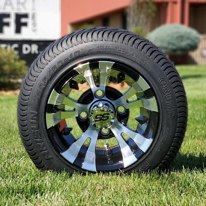 "10"" Low profile turf tire and gotham or vampire style rim combo set for golf cart in black and machined aluminum."