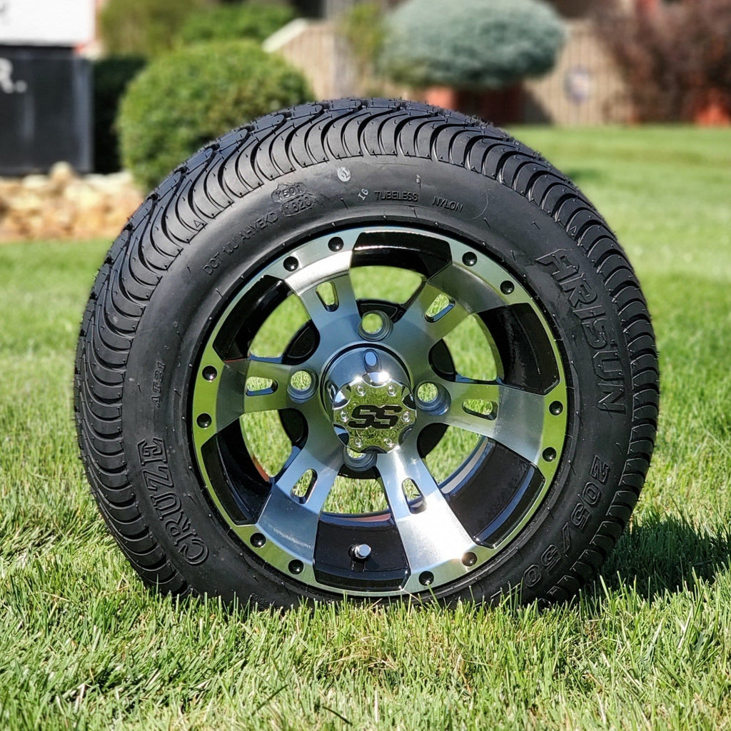 "10"" Low profile turf tire and stallion style rim combo set for golf cart in black and machined aluminum."