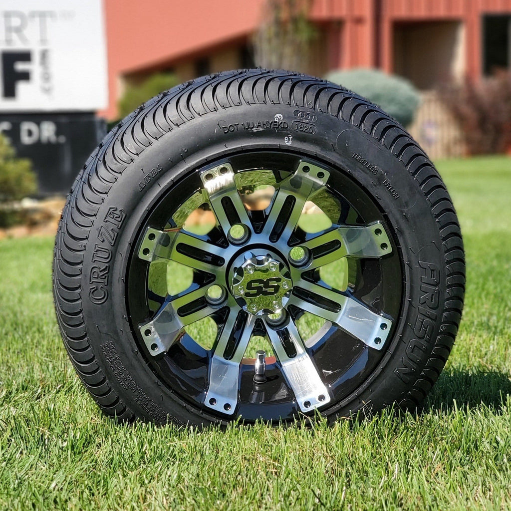 "10"" Low profile turf tire and storm style rim combo set for golf cart in black and machined aluminum."