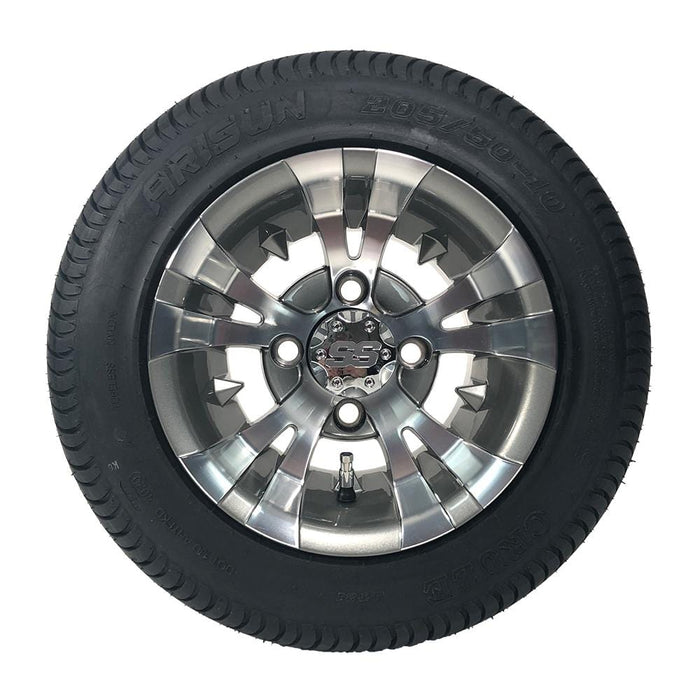 "10"" Low profile turf tire and Vampire style rim combo set for golf cart in gunmetal and machined aluminum."