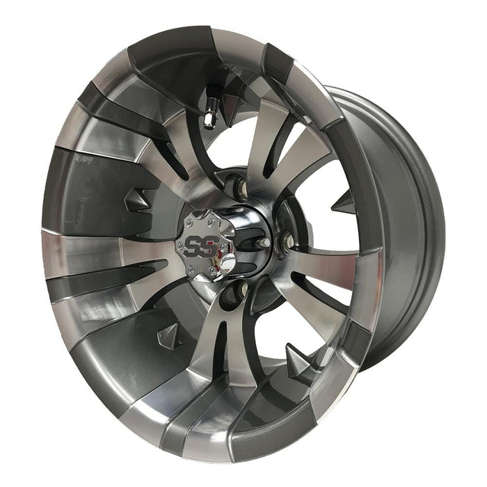 "12"" Gotham golf cart wheel with SS center cap in Gunmetal and Brushed Aluminum finish."