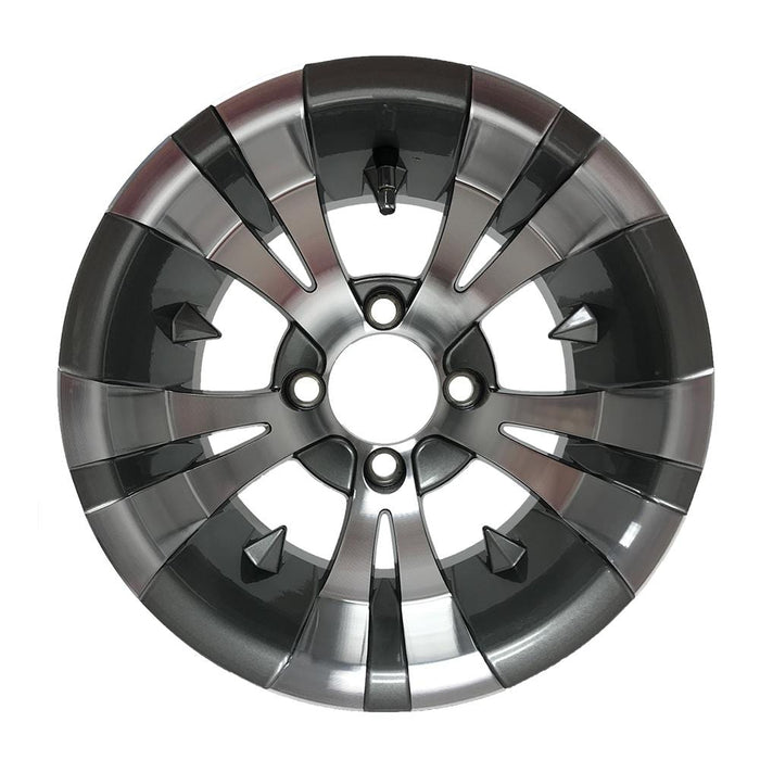 Gotham Vampire 12 inch wheel for golf cart with machined face and gunmetal finish.