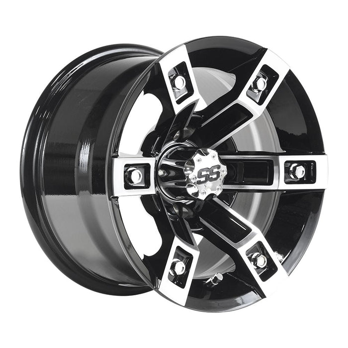 "Rebel aluminum 12"" golf cart wheel gloss black with machined face."