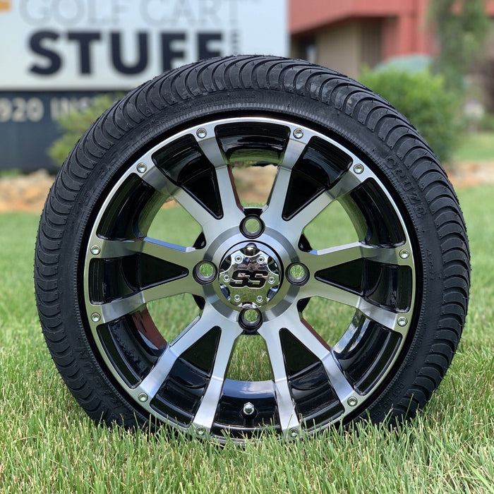 Low profile turf tire and Flame style rim and wheel combo set for golf cart.